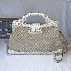 Brahmin Satchel Woven Linen & Croc Leather Ivory